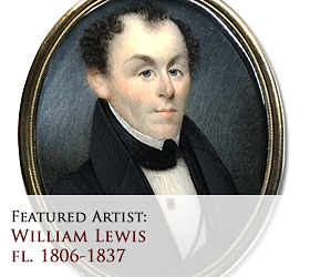 Biographical article on William Lewis, 19th century American miniature portrait painter/artist