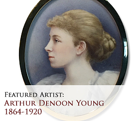 Biographical article on Arthur Denoon Young (often erroneously said to be Andrew Denoon Young), 19th century English miniature portrait painter/artist