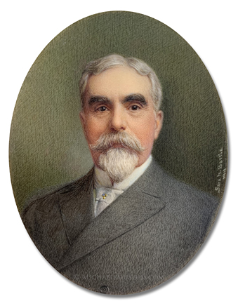 Portrait miniature by Sara Norwood Bartle of American attorney and diplomat William Simpson Carroll (1838-1911)