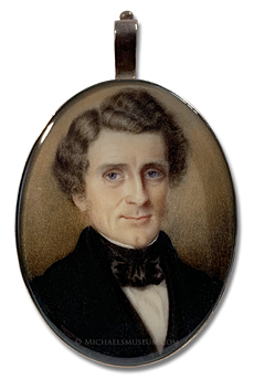 Portrait miniature by John Carlin, depicting a distinguished looking American gentleman of the mid nineteenth century
