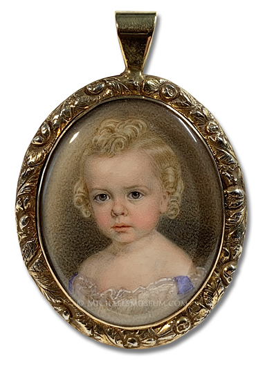 Portrait miniature by John Carlin of a young, Jacksonian Era child with blond hair