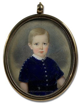 Portrait miniature by John Carlin of a Jacksonian Era boy wearing a blue velvet Eton suit with silver buttons and a lace collar