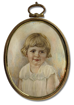 "Portrait Miniature by Mary Ellen (""Marie"") Cheville Depicting a Young American Girl of the Early Twentieth Century"