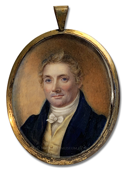 Portrait miniature by Anna Claypoole Peale of a Jacksonian Era American gentleman with blond hair and blue eyes