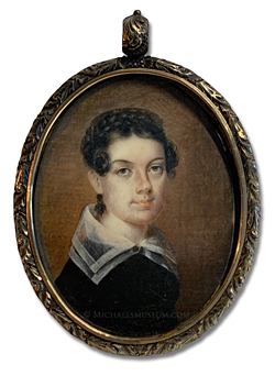 Portrait miniature by Anna Claypoole Peale of a young Jacksonian Era American lady wearing a black dress with a large, organza collar