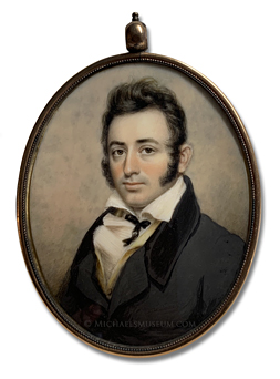 Portrait miniature by Anson Dickinson of a Jacksonian Era American gentleman depicted with an open collar