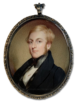 Portrait miniature by John Wood Dodge of a Jacksonian era gentleman with blond hair and sideburns