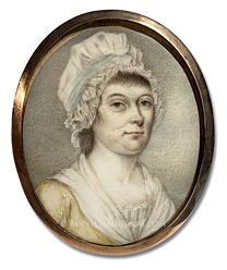 Portrait miniature by Joseph Dunckerley (alt., Joseph Dunkerley) depicting an early American lady of Boston, wearing a bonnet