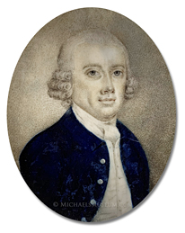 Portrait miniature by Joseph Dunckerley (alt., Joseph Dunkerley) depicting his father, Joseph Dunckerley (1728-1802), a Georgian Era London jeweler