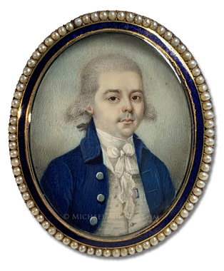 Portrait miniature by Joseph Dunckerley (alt., Joseph Dunkerley) depicting a late eighteenth century gentleman painted in the British West Indies