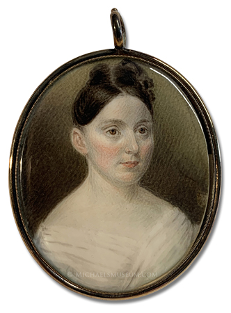 Portrait miniature by Sarah Goodridge of a Jacksonian era lady
