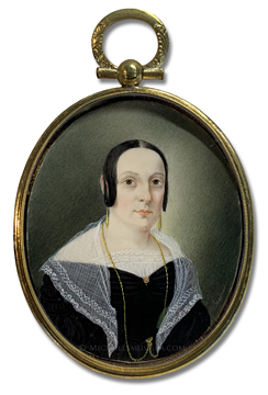 Portrait miniature by Christopher Martin Greiner, depicting a Jacksonian Era American lady wearing a lace shawl and gold jewelry