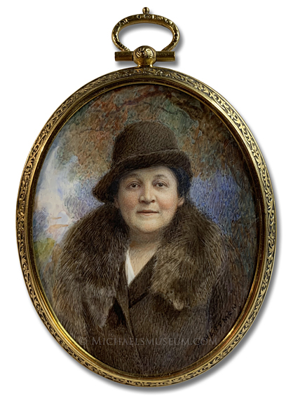 Portrait Miniature by Marion Caroline Hoffman Hartman of an American Lady of the 1930s, Wearing a Mink Stole and Depicted in an Outdoor Landscape
