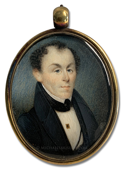 Portrait miniature by William Lewis, depicting a Jacksonian Era New England gentleman in formal attire