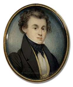 "Portrait miniature by William Lewis of a Jacksonian era gentleman, identified by the initials ""G. A. H."", wearing a yellow, double breasted, shawl collar vest"