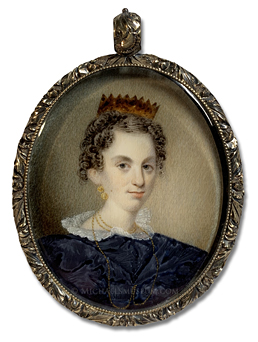 Portrait miniature by William Lewis of a Jacksonian Era American girl wearing gold jewelry and a tortoiseshell hair comb
