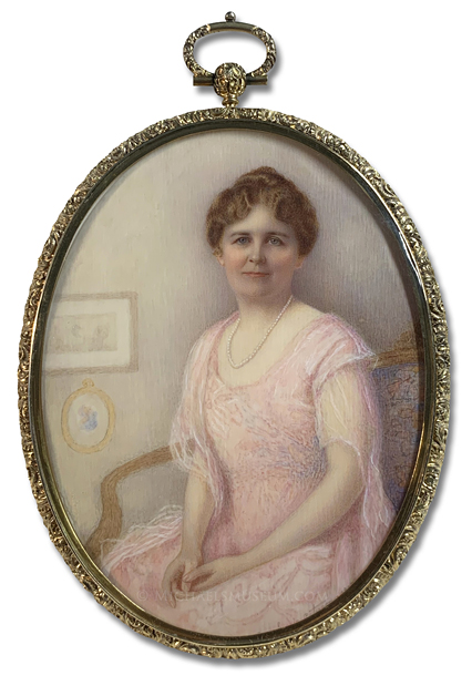 Portrait Miniature by Elizabeth Bangs Currie Paterson depicting a World War I Era American Lady, Elegantly Dressed and Seated on a Settee