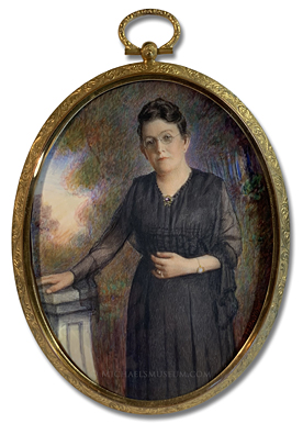 Portrait Miniature by P. Phillips depicting Mrs. Jennie Withers Gray in an Outdoor Landscape