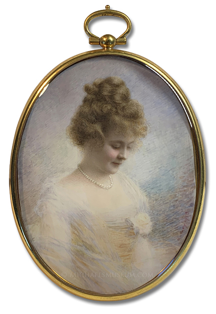 Portrait Miniature by Claude E. Quivey depicting a Coy-Looking World War I Era American Lady