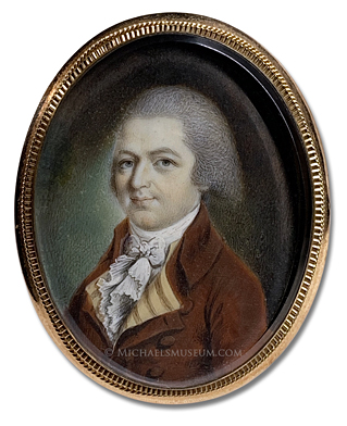 Miniature Portrait by John Ramage of a Federalist Era American Gentleman