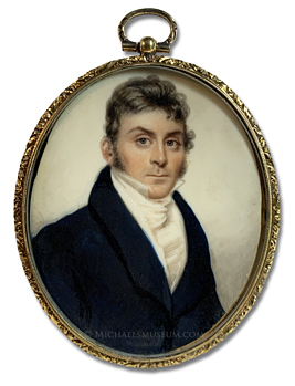 Portrait miniature by Nathaniel Rogers of a Jacksonian Era gentleman with long sideburns