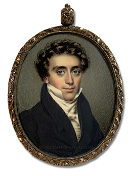 Portrait Miniature by Nathaniel Rogers of a Jacksonian era gentleman identified by the monogrammed initials JH