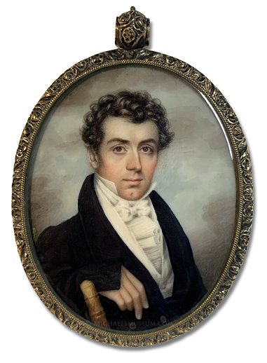 Portrait miniature by Nathaniel Rogers of an early American gentleman, seated in a bamboo chair and depicted with a sky background