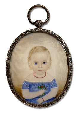 Portrait miniature by Clarissa Peters Russell  (frequently referred to as Mrs. Moses B. Russell) depicting a mid nineteenth century American girl with blond hair and blue eyes