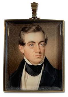 Portrait miniature by Henry Colton Shumway depiting a Jacksonian era New York gentleman