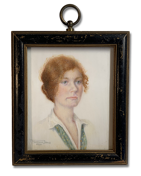 Portrait Miniature by Florence Sims Depicting an American Lady of the 1930s with Red Hair and Green Eyes