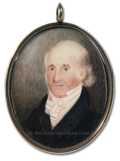 Miniature portrait of William Taylor (1763-1838), surveyor and mapmaker, and life-long resident of Boston -- artist unknown