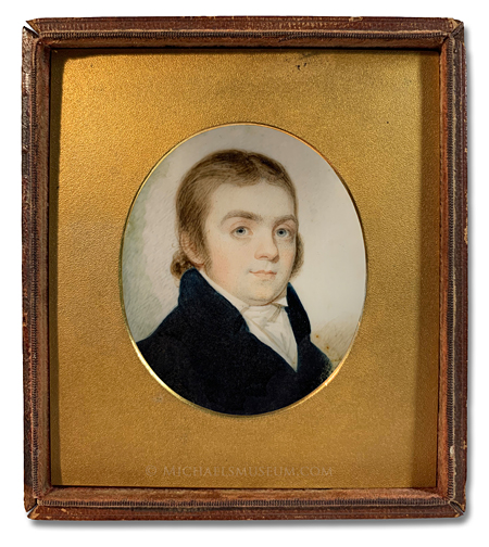 Portrait miniature by Elkanah Tisdale of an unknown early American gentleman