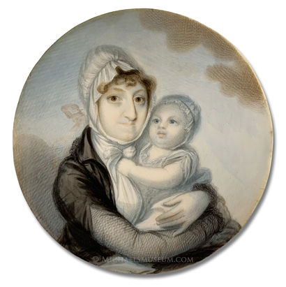 Portrait miniature by Elkanah Tisdale of an Early American lady holding a baby in her arms