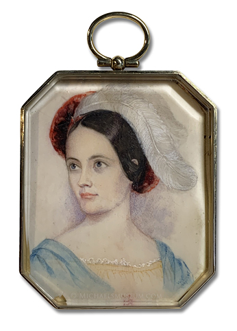 Portrait miniature by Lewis Towson Voigt of a mid-nineteenth century American lady painted in Nags Head, North Carolina
