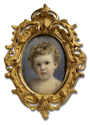 Portrait miniature by Carl Adolph Weidner depicting Robert Loder of East Orange, Essex, New Jersey, painted at the age of 2