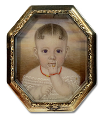 Portrait miniature by Clarissa Peters Russell (frequently referred to as Mrs. Moses B. Russell) depicting Harriette Augusta Wetherell at the age of 6 months