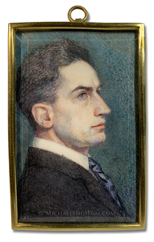 Portrait miniature of an unknown early twentieth century American gentleman, depicted in profile view -- artist unknown