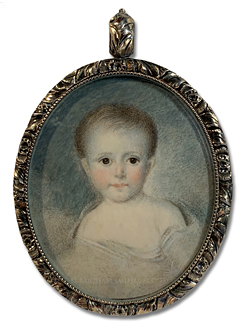 Portrait miniature of a Jacksonian child, depicted amongst clouds (likely a post mortem portrait) -- artist unknown