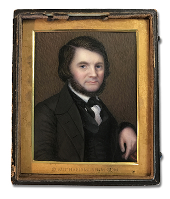 Portrait Miniature by Washington Blanchard depicting a bearded Jacksonian Era American gentleman seated in a chair.