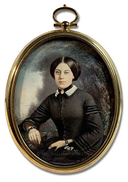 Portrait Miniature by Marion Caroline Hoffman Hartman Depicting an American Lady of the Reconstruction Era (Post Civil War), Painted circa 1922 from a Photograph Dating to the 1870s