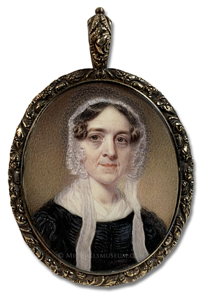 Portrait miniature of a an unknown Jacksonian era lady wearing a lace cap -- artist unknown