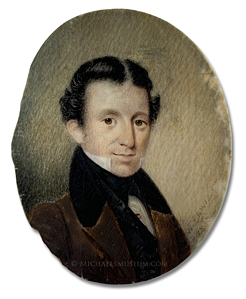 Portrait miniature by William Lewis of a Jacksonian era gentleman wearing a brown coat