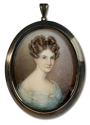 Portrait miniature by Caroline Couper Stiles Lovell of a late nineteenth century American lady of the Deep South