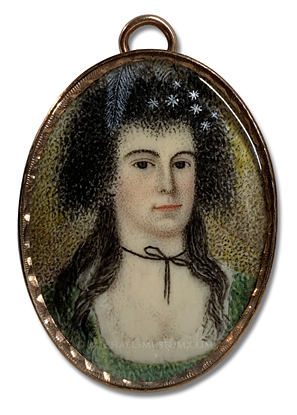 Portrait miniature by Ebenezer Mack depicting an Early American lady wering feathers and jewels in her hair