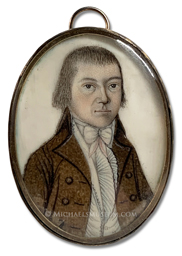Portrait miniature by Ebenezer Mack depicting an Early American gentleman wearing a brown coat