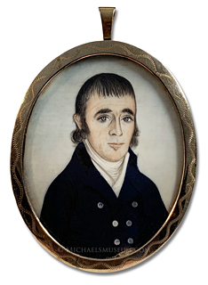 Portrait miniature by John Roberts depicting a Massachusetts ship's captain of the Federalist Era