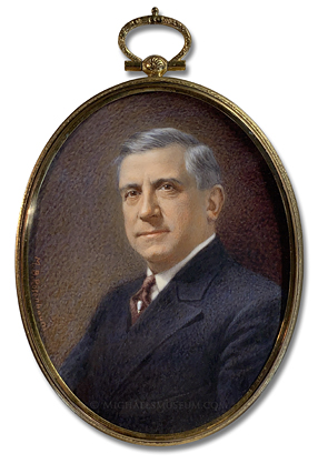 Portrait Miniature by Maurice B. Rosenbaum Depicting a Distinguished Looking American Gentleman of the Early Twentieth Century, Wearing a Dark Suit and Burgundy Colored Tie