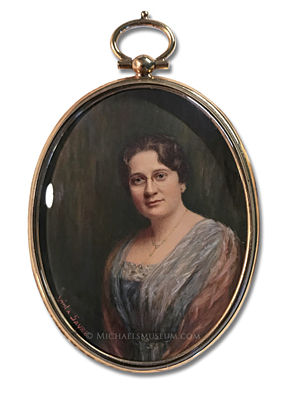 Portrait Miniature by Viola G. Sayre depicting an Early Twentieth Century Glendale, California Resident Identified as Mrs. Thomas of Campbell Street