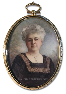Portrait Miniature by Harry Valentine Shellard Depicting a Wealthy American Lady of the Early Twentieth Century