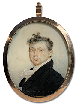 Portrait miniature by Benjamin Trott of an early American gentleman depicted with a sky background